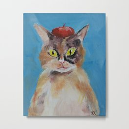 Calico Cat with Beret Metal Print