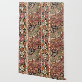 Persian Medallion Rug II // 16th Century Distressed Red Green Blue Flowery Colorful Ornate Pattern Wallpaper
