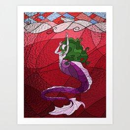 Primeval Mermaid (red) Art Print