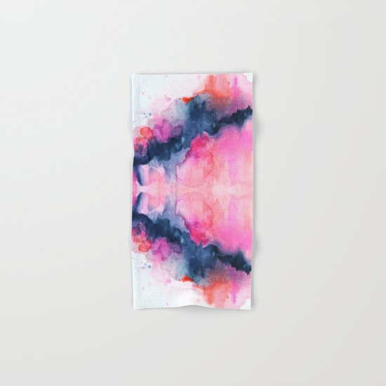 Abstract watercolor Orange Pink Hand & Bath Towel