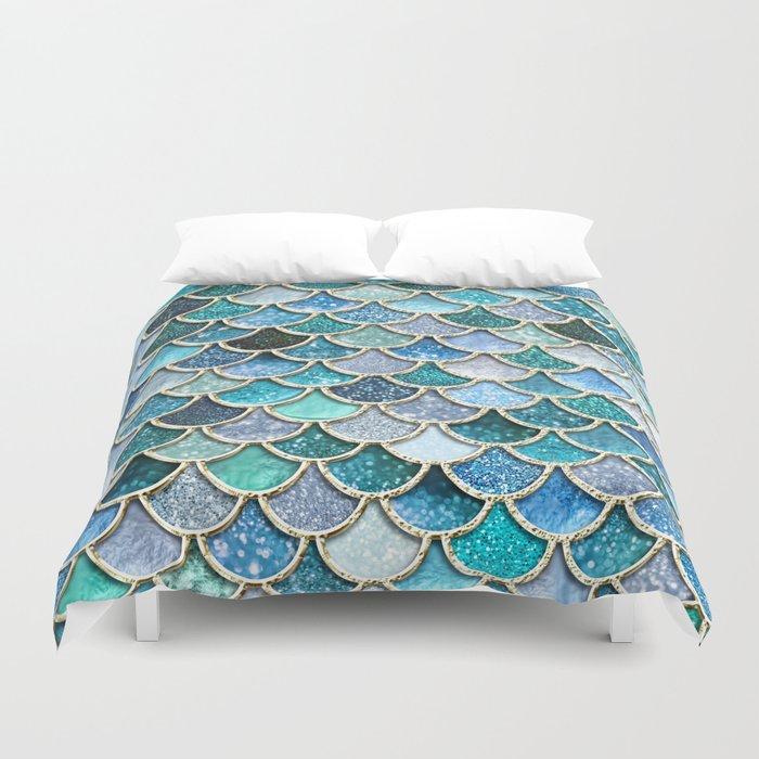 Multicolor Aqua Mermaid Scales - Beautiful Abstract Glitter Pattern Duvet Cover