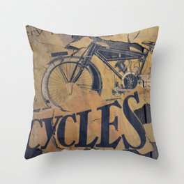 Cycles Vintage Poster Throw Pillow