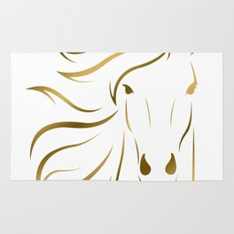 Golden Horse Drawing Rug