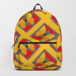 GOLDEN BUTTERFLIES RED- GREY LATTICE  DESIGN Backpack
