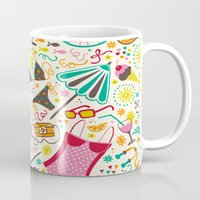 cycle Mugs featuring Seaside Cycle by Anna Deegan