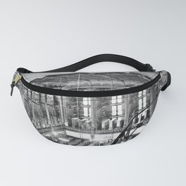 A Book Lover's Dream - Cast-iron Book Alcoves Cincinnati Library black and white photography Fanny Pack