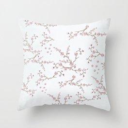 SAKURA LOVE - GRUNGE WHITE Throw Pillow