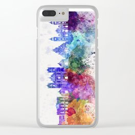 Tegucigalpa skyline in watercolor background Clear iPhone Case