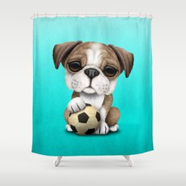 Cute British Bulldog Puppy With Football Soccer Ball Shower Curtain