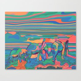 Elephant Family Colorful Abstract Canvas Print