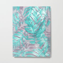 Teal and Silver foliage Metal Print