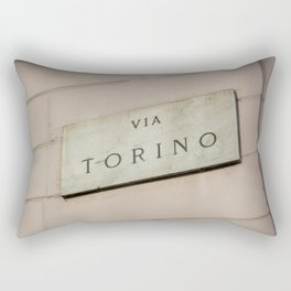 Via Torino signboard in the center of Milan Rectangular Pillow