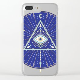 Evil Eye Mandala – Navy Clear iPhone Case