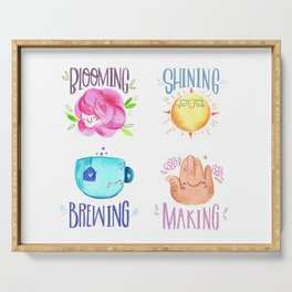 Bloom Shine Brew & Make - cute lettering poster motivational Serving Tray