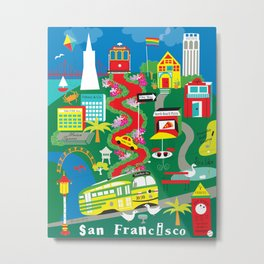 San Francisco, California - Collage Illustration by Loose Petals Metal Print