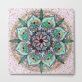 Bohemian Colorful Watercolor Floral Mandala Metal Print