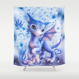 Cuddle me Dragon in blue Shower Curtain