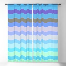 Bright Blue Bars Blackout Curtain