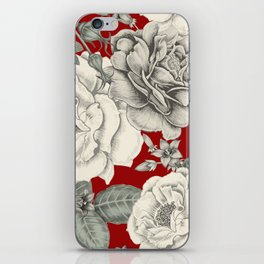 SEPIA FLOWERS ON RED iPhone Skin
