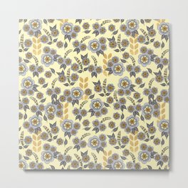 Golden floral with silver on beige Metal Print