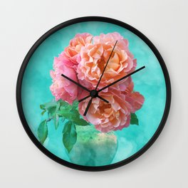 Pink Rose Bouquet in a terracotta vase Wall Clock