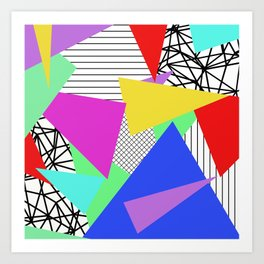 Bits And Pieces - Retro, random, abstract pattern Art Print