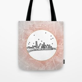 Houston, Texas City Skyline Illustration Drawing Tote Bag