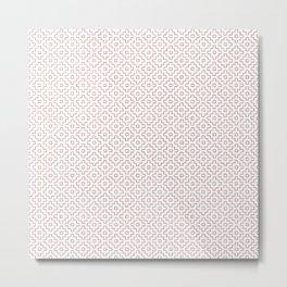 Persimmon Hitomezashi Sashiko - Red on White Metal Print