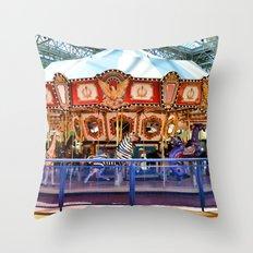 Carousel inside the Mall Throw Pillow