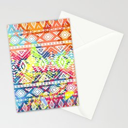 Bright ethnic pattern. Geometric striped background. Tribal motifs. Spot colors Stationery Cards
