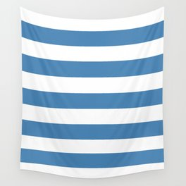 Steel blue - solid color - white stripes pattern Wall Tapestry