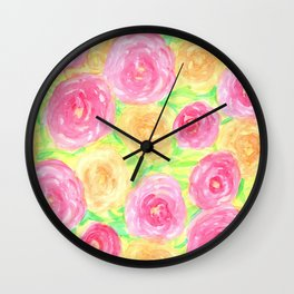Peonies in Pink and Peach Wall Clock