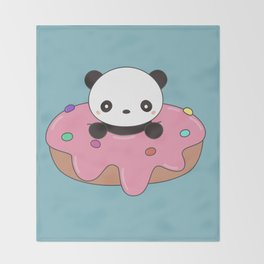 Kawaii Cute Panda Donut Throw Blanket