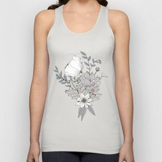 Seamless pattern design with hand drawn flowers and floral elements Unisex Tank Top