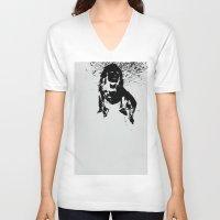 alice wonderland V-neck T-shirts featuring Wonderland by Genevieve Moye