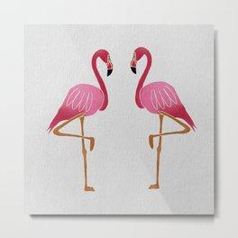 Two Pink Flamingos Metal Print