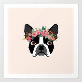 Boston Terrier dog breed with floral crown cute dog gifts pure breed Boston Terriers Art Print
