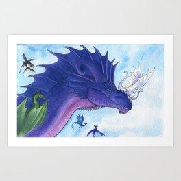 Purple Dragon Mother Art Print