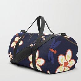 Cherry Blossom Season Dark Blue Background Duffle Bag