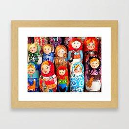 Culture. Group of matrioska, or babushka, symbol of maternity from Russia. Framed Art Print