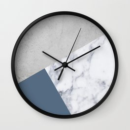 NAVY BLUE MARBLE GRAY GEOMETRIC Wall Clock