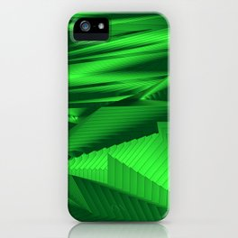 Diffuse landscap with stylised mountains, sea and green Sun. iPhone Case