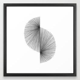 Mid Century Modern Geometric Abstract S Shape Line Drawing Pattern Framed Art Print