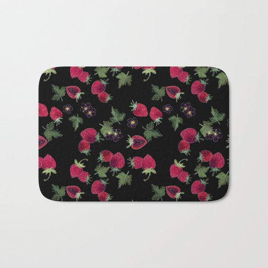 Watercolor. Strawberries on a black background Bath Mat