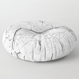 Paris France Minimal Street Map - Gray and White Floor Pillow