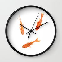 goldfish Wall Clocks featuring Goldfish by Jill Byers