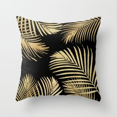 Gold Palm Leaves on Black Throw Pillow