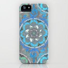 Mint Green, Blue & Aqua Super Boho Medallions iPhone Case