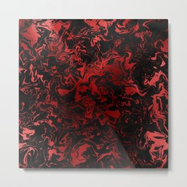 Black and Red Goth Marbled Metal Print
