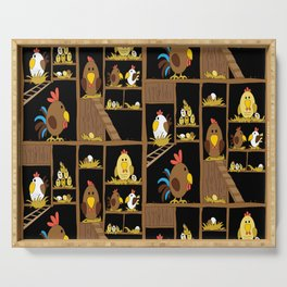 Chicken Coop - by Kara Peters - chickens, farm, illustration, birds Serving Tray